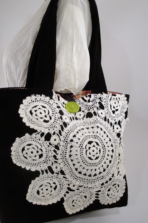 Doily Tote Bag by SnapCapStitchCraft
