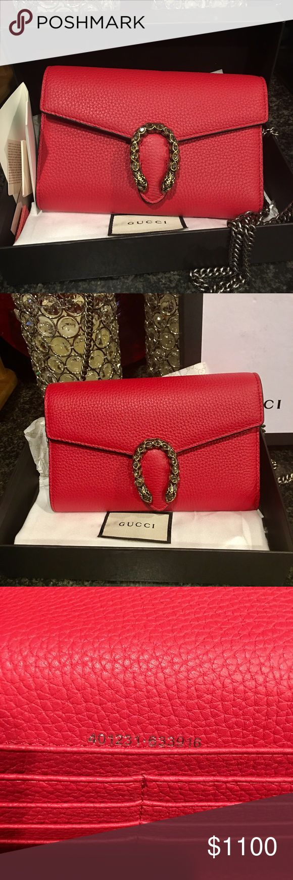 Mini Gucci Dionysus chain bag/wallet $1,400.00 Beautiful Mini Gucci Dionysus Chain Bag/Wallet. With tags dust bag and box.. In new condition. Has been used a few times but No signs of use. And in one of the hottest colors out this year. Only serious buyers please and thank you... Good Luck 🍀 to the lucky buyer that gets to take her home... Gucci Bags Mini Bags