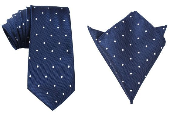 Matching Necktie  Pocket Square Combo Navy Blue White by OTAA, $43.95