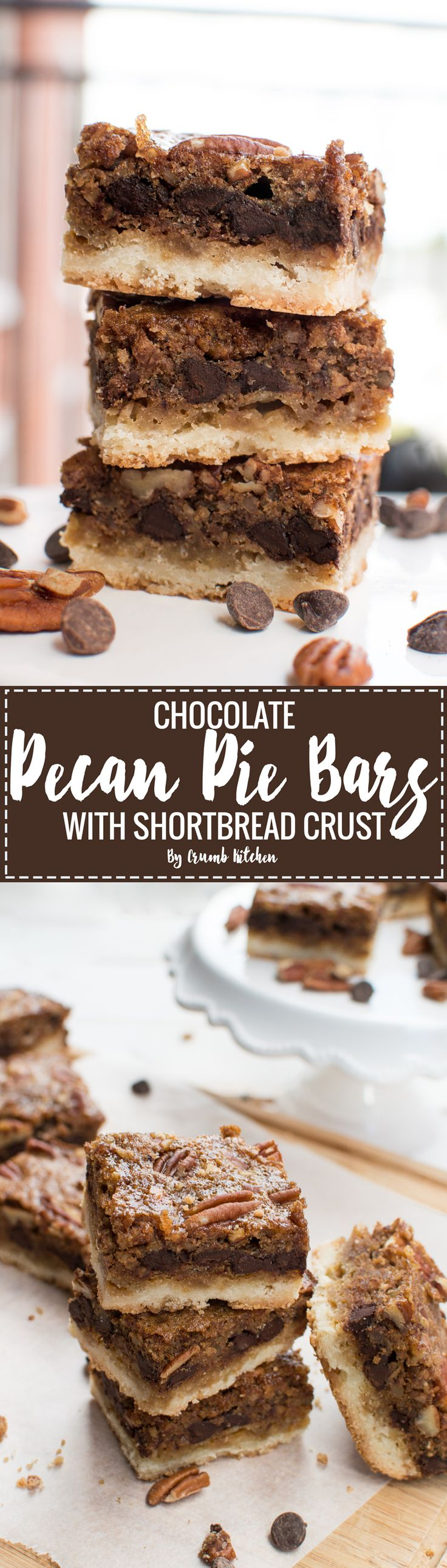 These rich Chocolate Pecan Pie Bars with Shortbread Crust are full of moist corn syrup-free filling, perfect for Thanksgiving dessert.   Crumb Kitchen