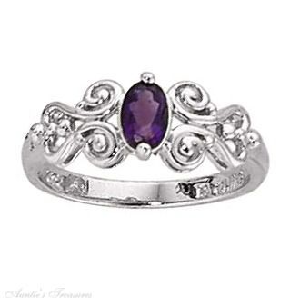 amythest rings | ... Amethyst Oval 6x4mm With Scrolled Band Ring. Size 5 2.5 Grams Size 6 2