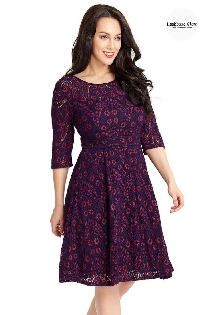 Dresses // Put this pretty purple hollowed floral lace skater dress on with your ankle strap heels and red lipstick and be a beautiful vintage chic.