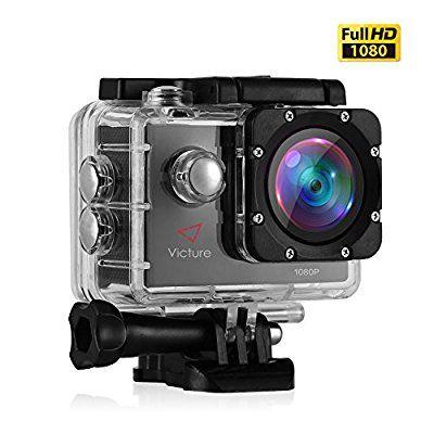Victure Sports Action Kamera 12MP 1080P FHD Unterwasserkamera Wasserdichte Helmkamera mit 170 Weitwinkel, 1050mAh Akku und Zubehor Kitt fur Tauchen, Schwimmen, Motorrad fahren und Fahrrad fahren