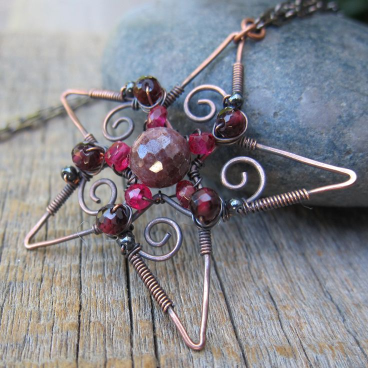 RESERVED for mamadragon - E Filigree Snowstar Pendant - Ruby and Copper ... Wire Wrapped Ornate Star. via Etsy.