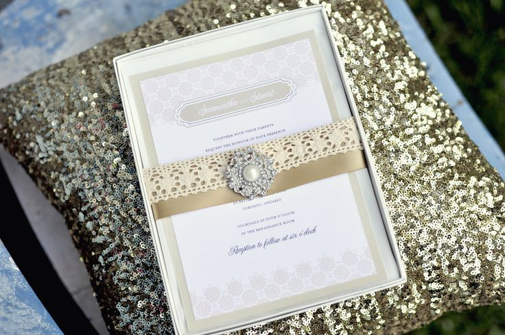 Rustic lace detailing presents a hippie inspired invitation.