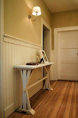 beadboard.de Diele Eingangsbereich , Wandverkleidung an Treppe, Wandpaneele Holz Treppe Profilholz Nut-Feder Bretter Landhaus Verkleidung