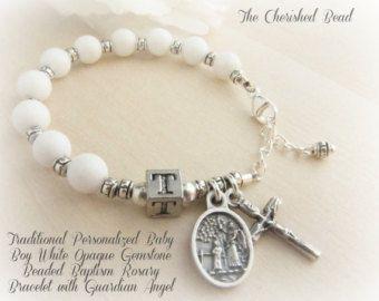 Pulsera del Rosario de bautismo católico del muchacho con luz