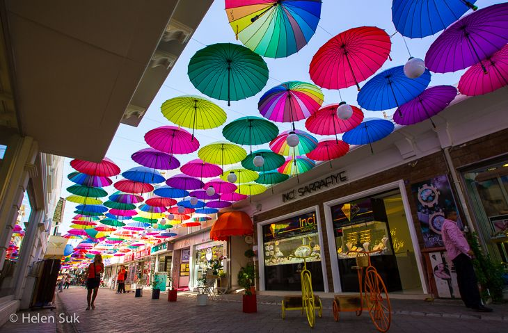 Umbrella art installation in Fethiye, Turkey. Click for more things to do in this city on the Aegean Sea.