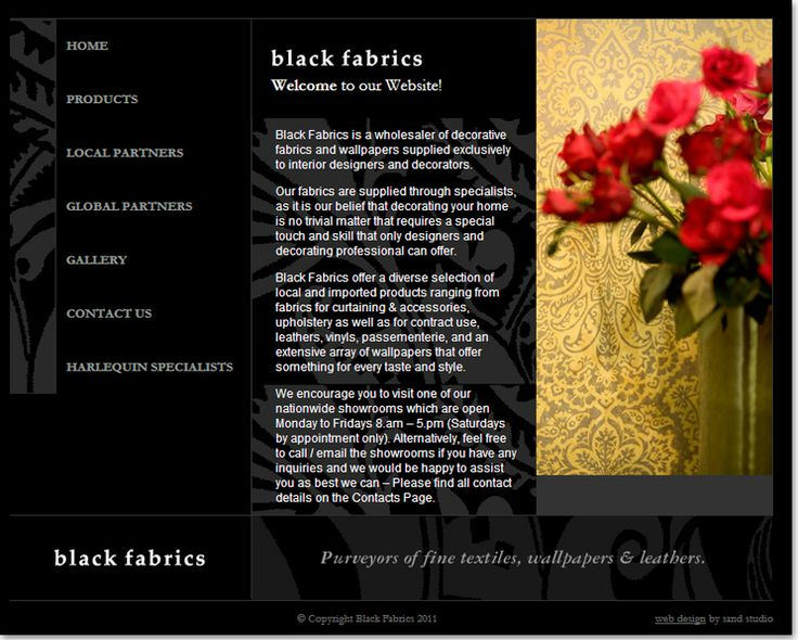 Interior and Exterior website design for Black fabrics