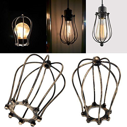 Iron Wire Bulb Cage Hanging Lamp Holder Guard Shade Industrial Home Light  Decor