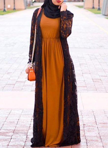 Black Lace Maxi Kimono