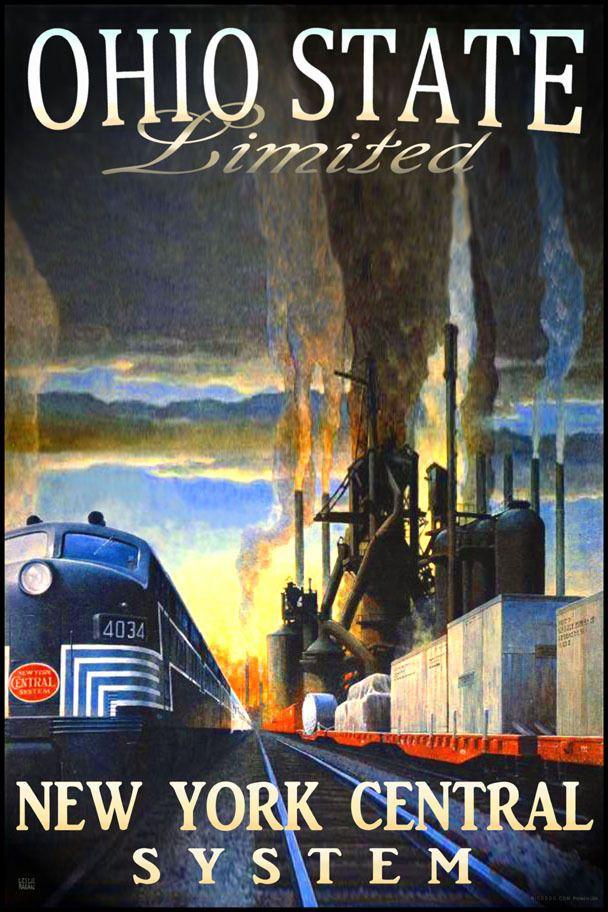 Ohio State Ltd New York Central Railroad Train Poster Leslie Ragan Art Print 292 | eBay