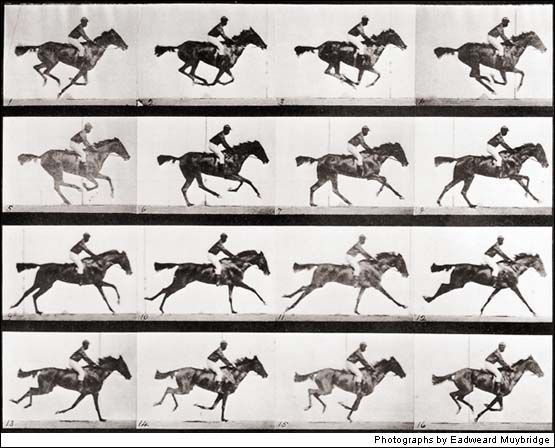 """Eadweard Muybridge set off the revolution in motion photography that would become movies. His biographer, Rebecca Solnit, summed it up: """"He is the man who split the second, as dramatic and far-reaching an action as the splitting of the atom."""""""