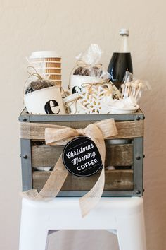 How to Make a Coffee Gift Basket | The TomKat Studio for DIY Network (FREE printable labels!)