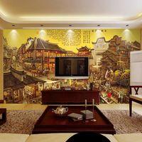 Envío gratis grande chino olla caliente Restaurante edificio retro papel tapiz mural de hotel habitación con balcón