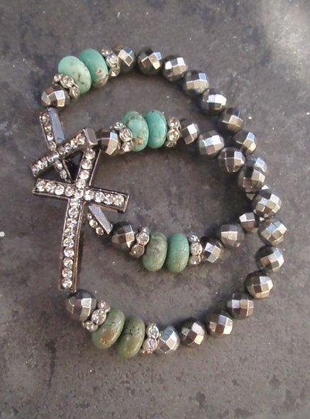 Sideways cross stretch bracelet 'Heavens Light' green turquoise, silver pyrite, gunmetal, crystal, religious jewelry, luxe boho