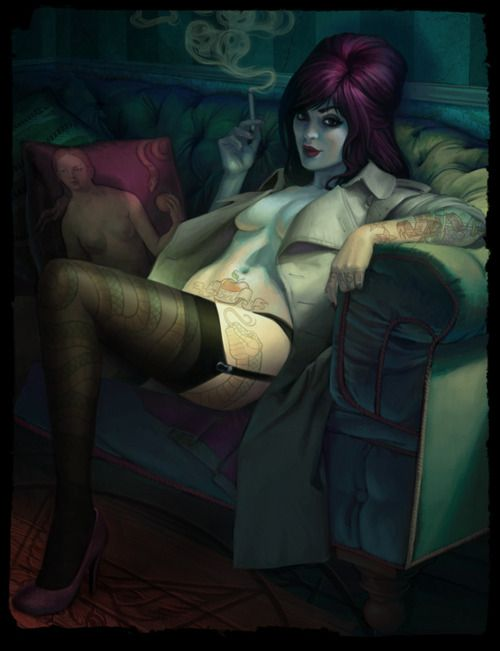 pin up: Fantasy, Snakes Tattoo, Jessibean, Digital Art, Modern Pin Up, Jessica Oyhenartb, Pinup, Digital Illustrations, Erotic Art