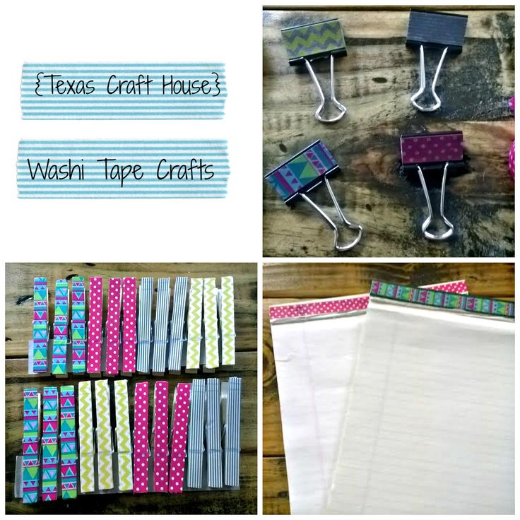 {Texas Craft House} Washi tape binder clips and clothespins - these would be great to give as gifts for teachers, students, coworkers, frien...