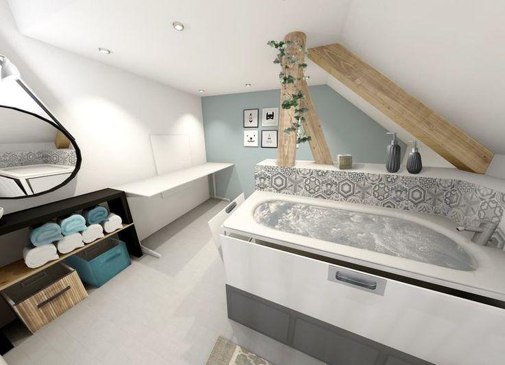 Petite salle d'eau pour un enfant en situation de handicap. Une baignoire pour barboter et pleins de petits rangements intégrés !
