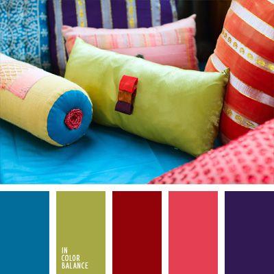aberenjenado, celeste, celeste vivo, color pera verde, colores para la decoración, de color violeta, elección del color, paletas de colores para decoración, paletas para un diseñador, rojo, rosado, selección de colores, verde.