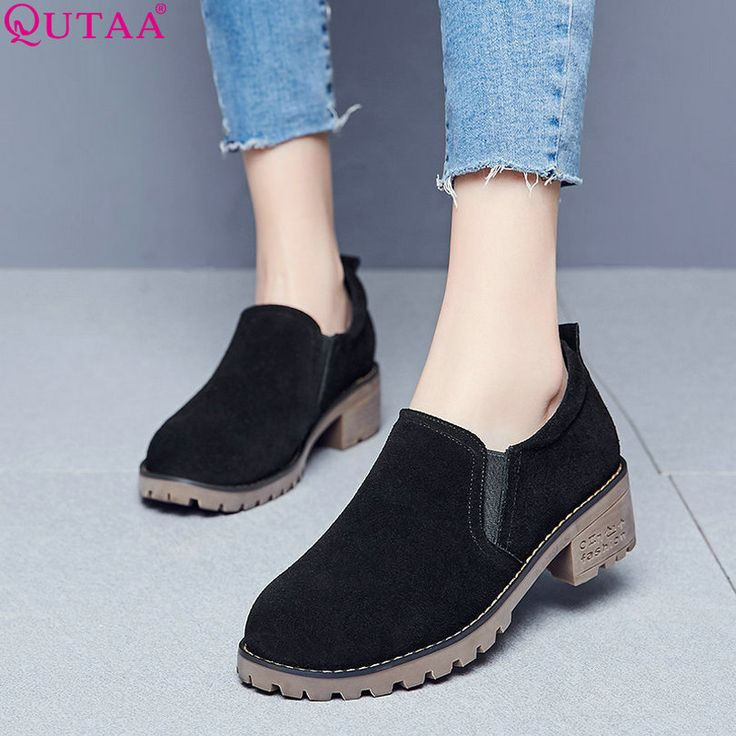 QUTAA 2017 Women Pumps Round Toe Scrub Ladies Shoe Square Med Heel Western Style Black Woman Wedding Shoes Size 34-39