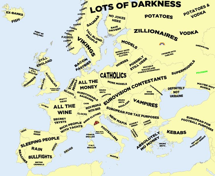 The Definitive Stereotype Map Of Europe --- Offend your way across the continent.