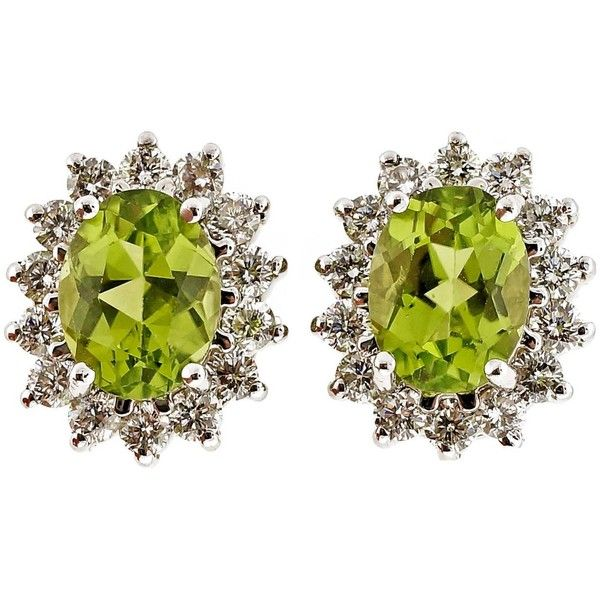 Preowned Oval Peridot Diamond Gold Earrings (2095 PAB) ❤ liked on Polyvore featuring jewelry, earrings, multiple, peridot jewelry, oval earrings, oval diamond earrings, yellow gold peridot earrings and gold peridot earrings