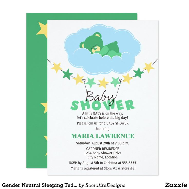 Gender Neutral Sleeping Teddy Bear Baby Shower Card © 2013 Socialite Designs. Cute green teddy bear sleeping in a cloud baby shower invitation for a gender neutral / gender unknown event . The design also has a star banner and baby shower text hanging from the banner. The back of the invitation has a green background with assorted sized yellow stars. All design elements can be moved, resized or deleted to suit your event.