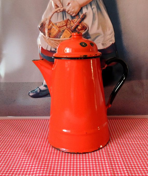 French Vintage Enamel Can Enamel Jug & Lid Vintage Kitchen
