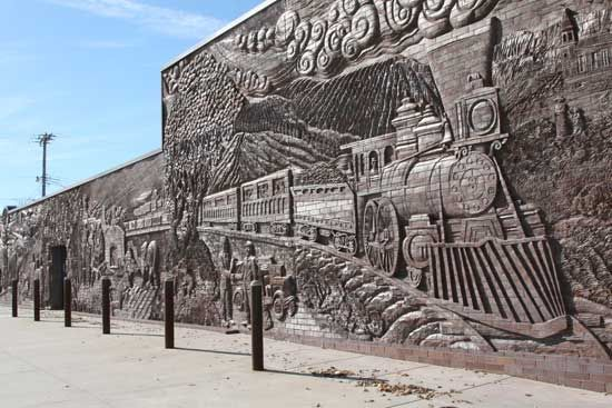 Brick mural in Concordia, KS -- by Catharine Magel and Mara Smith (part of 134' wall!)