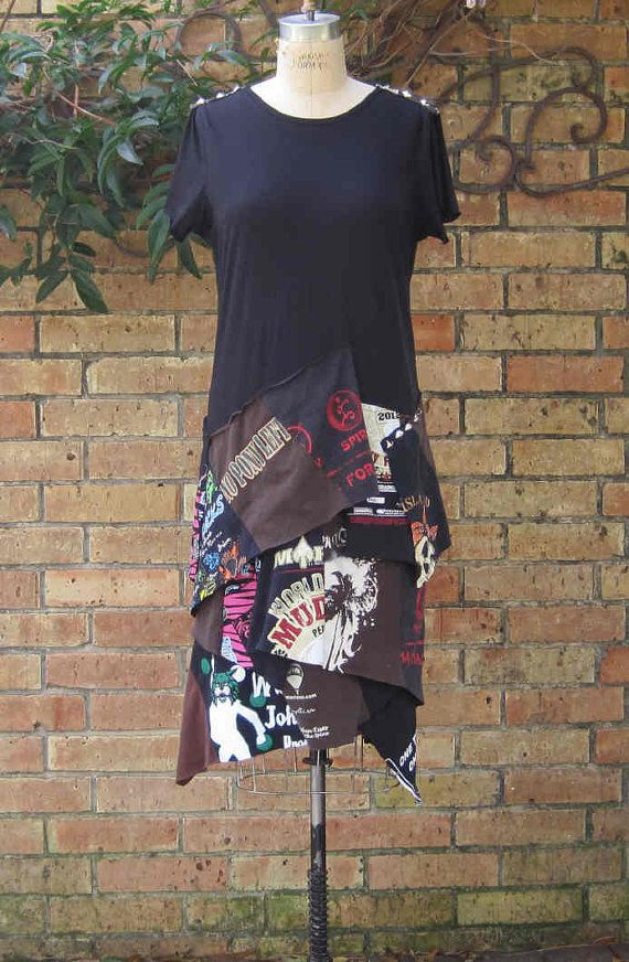T shirt DRESS Upcycled T shirt CUSTOM order studs by jagandnevie, $119.00