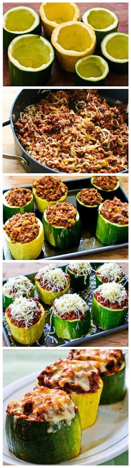 Stuffed Zucchini Cups I used fat free mozzarella cheese and 93% lean beef.  These were really good and the stuffing was flavorful and delicious.  My only problem was that I could not find huge zucchini so the cups were small and slightly difficult to eat. There was also a lot if extra filling so I am going to use it later this week over wheat pasta. HM