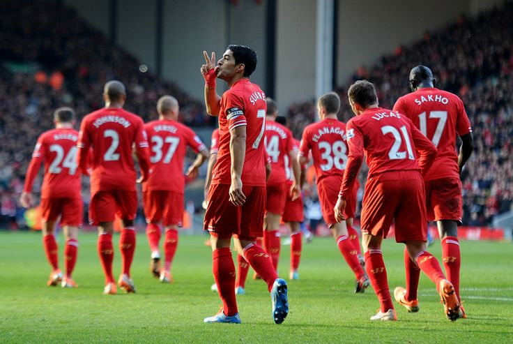 Suarez celebrates his new long-term contract in style with a brace against Cardiff City at Anfield #LFC