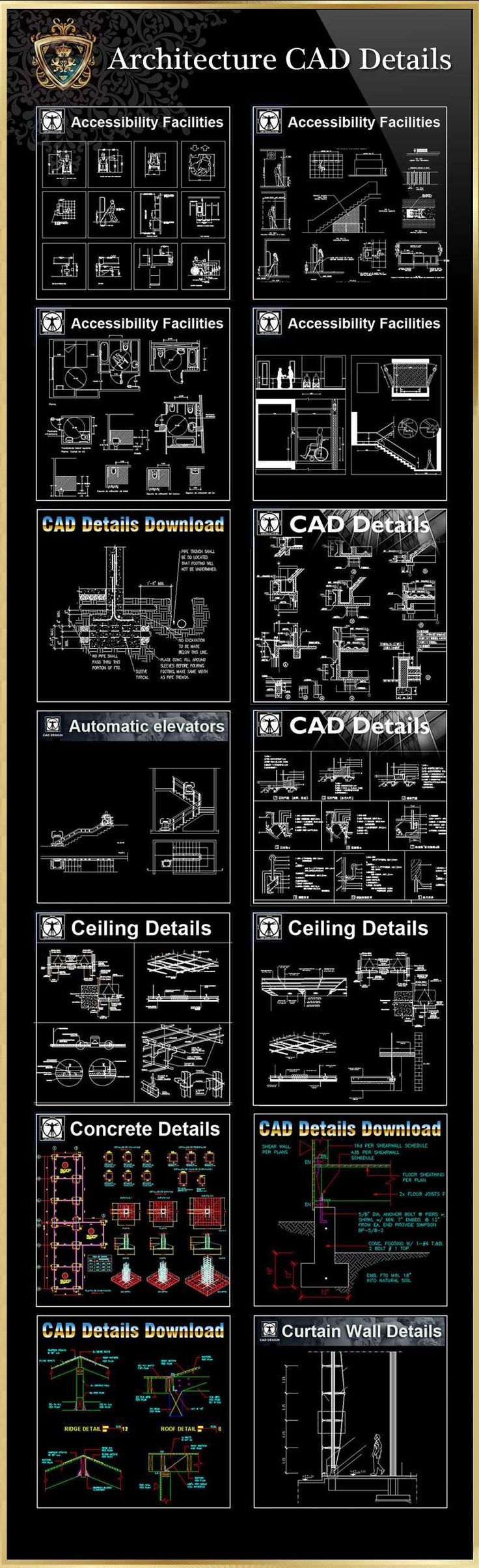 【All in one Architecture CAD Details】-High quality DWG FILES library for