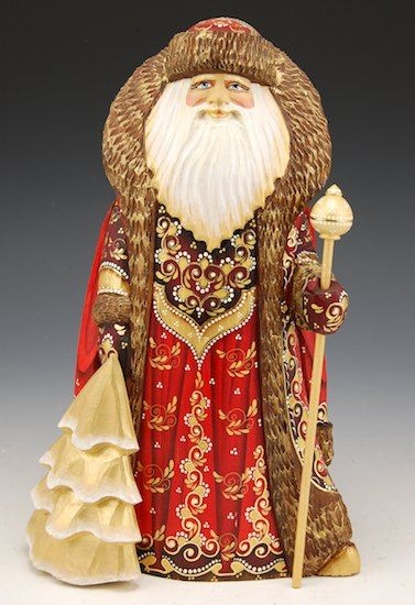 Russian Carved and Hand Painted Rich Red and Gold Santa