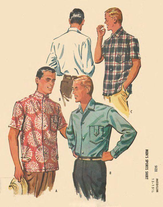 Vintage 1950 S Sewing Pattern Men S Nehru Sports Shirt C 38 40