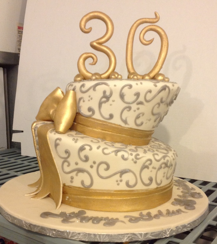 Calumet Bakery  Topsy Turvy Gold Bow, Silver Scrolls, and 30 Topper