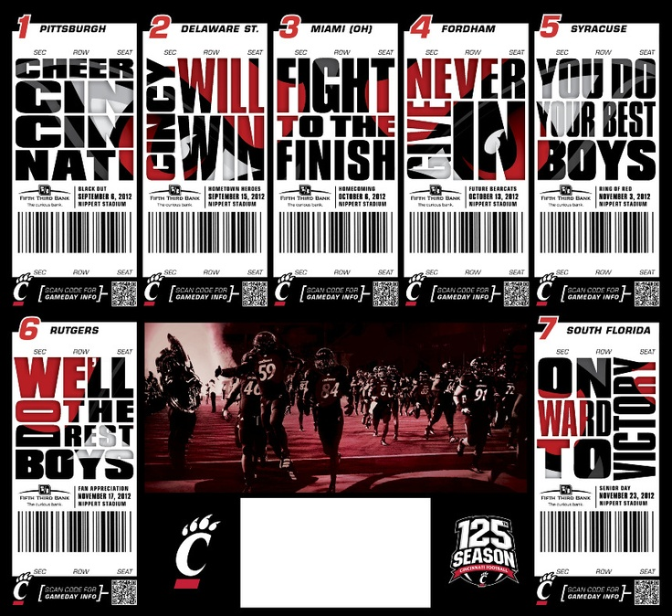 UC Football 2012 - Suzanneu0027s Portfolio Design Freelance Pinterest - How To Design A Ticket For An Event