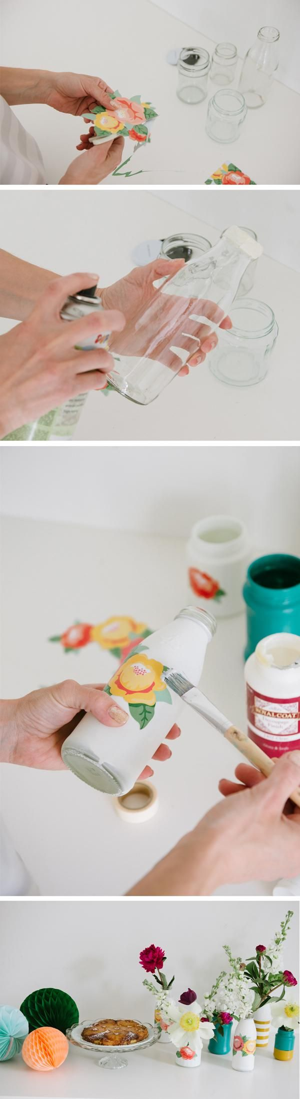 Use Mod Podge to add your own floral design to glass vases or recycled bottles with this simple tutorial. This DIY project is a fun way to update your home's accessories and makes a great hostess gift when paired with a fresh floral arrangement.