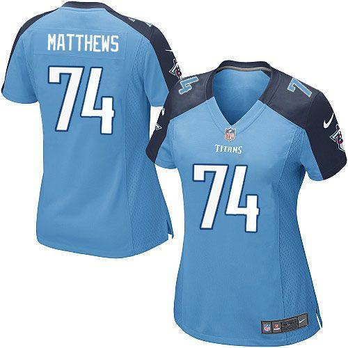 Women Nike Tennessee Titans #74 Bruce Matthews Limited Light Blue Team Color NFL Jersey Sale