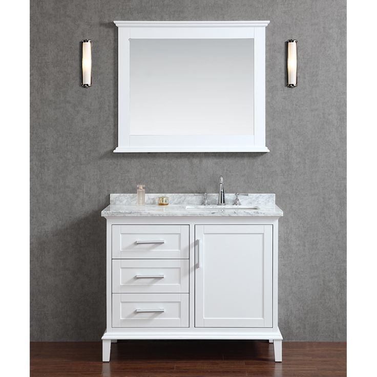 "Ariel by Seacliff Nantucket 42"" Single-Sink Bathroom Vanity Set in Alpine White - Ariel Bath"