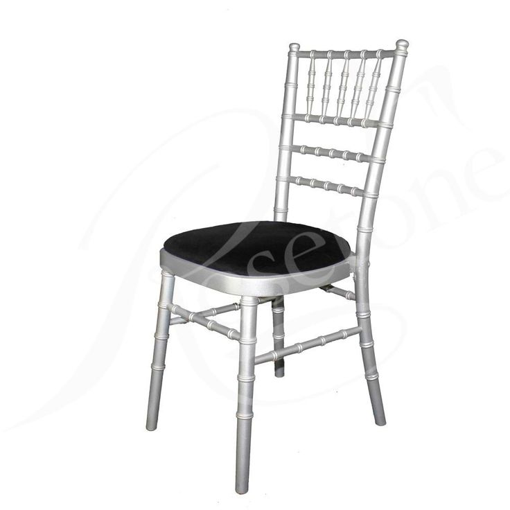 Silver Chiavari Wedding Chair with Black Seat Pad