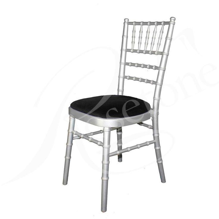 Silver Chiavari Wedding Chair with Black Seat Pad