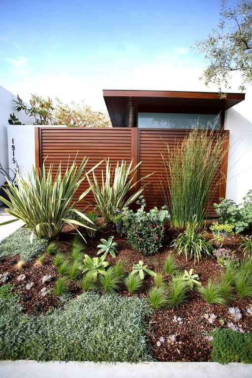 Contemporary Landscape/Yard with Variegated New Zealand Flax - Phormium Tenaxx, Fence, exterior stone floors, Pathway