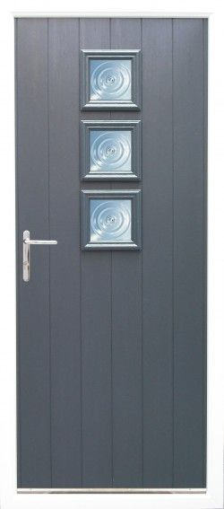 Naples composite door shown in Anthracite Grey with Chrome finish handle and Bulls Eye glass option.