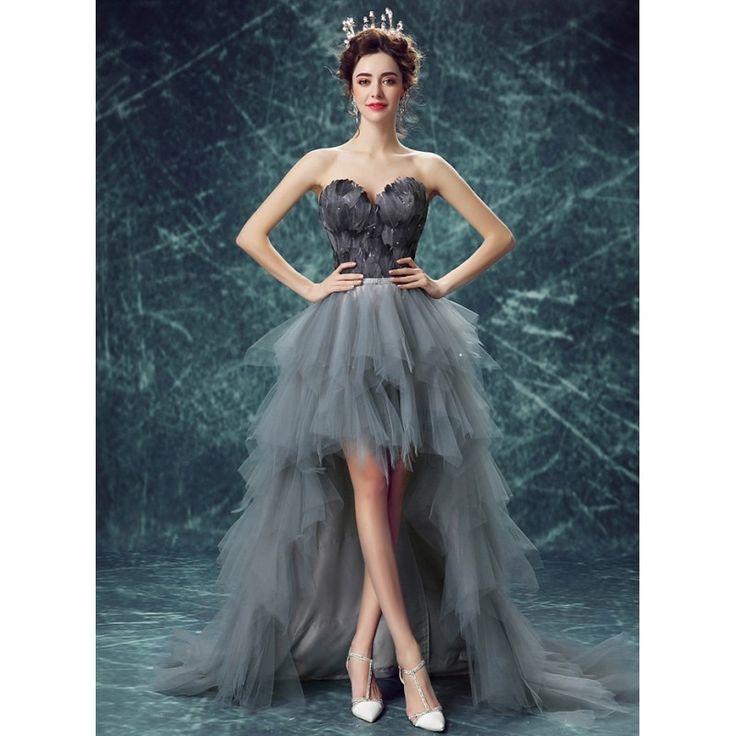 High Quality Elegant Gown Grey Feather Queen Dress - Kawaiimoo - High Quality Fashion Wholesale