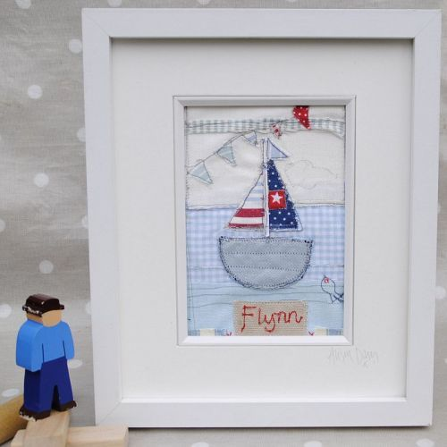 Personalised Sailing Boat Textile Art Picture | Baby Boy Gift |Christening Present |Nursery Decor