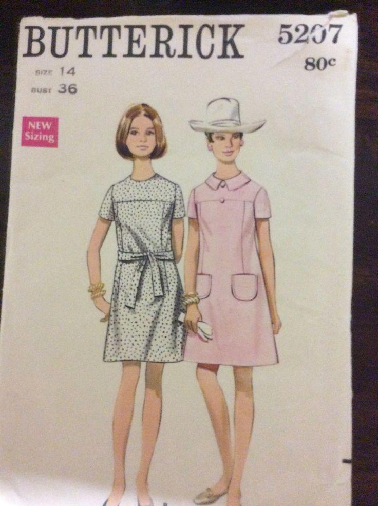 Butterick 5207, Misses one piece dress, Size 14 (36), 1960s