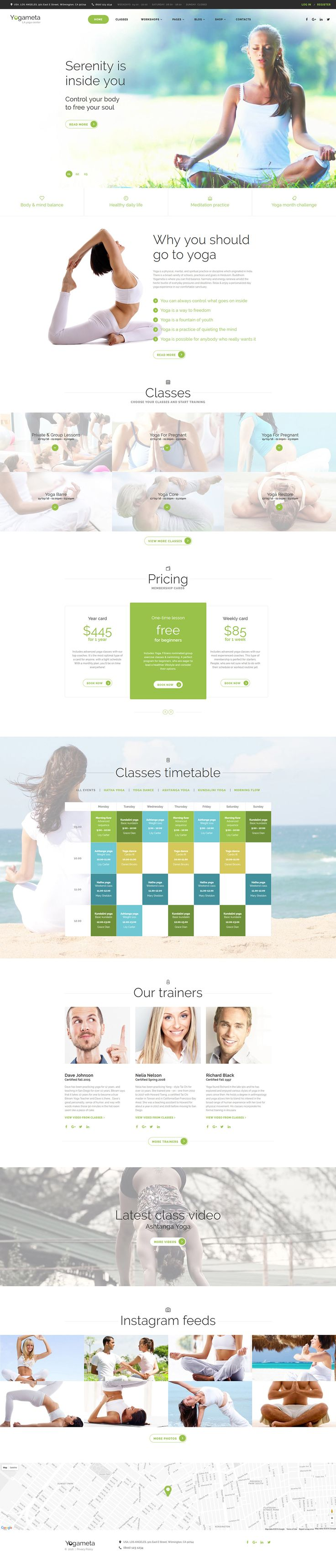 Yoga Responsive Website Template on Behance