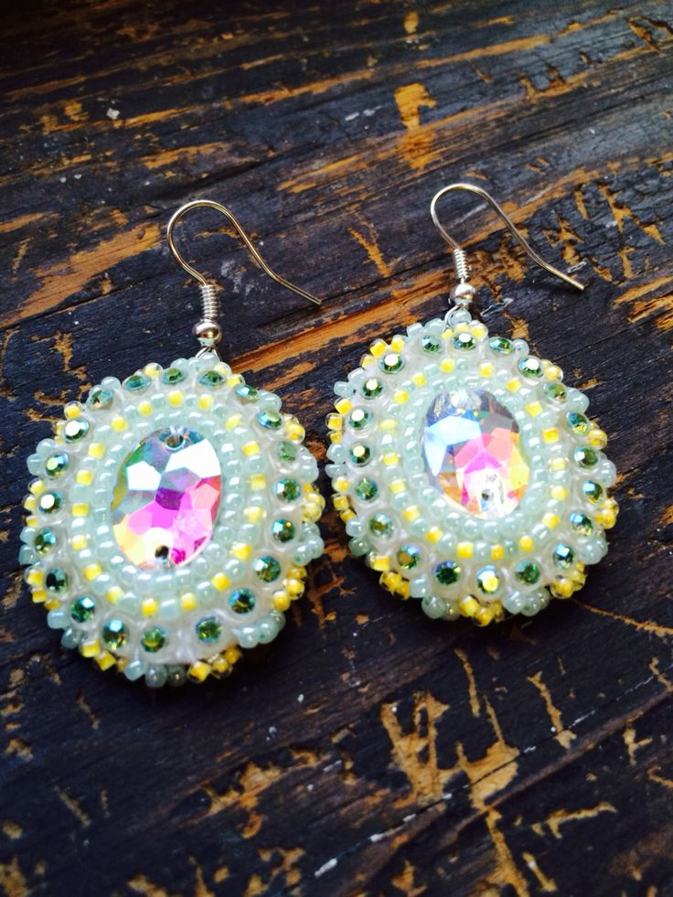 Mint and yellow beaded earrings.